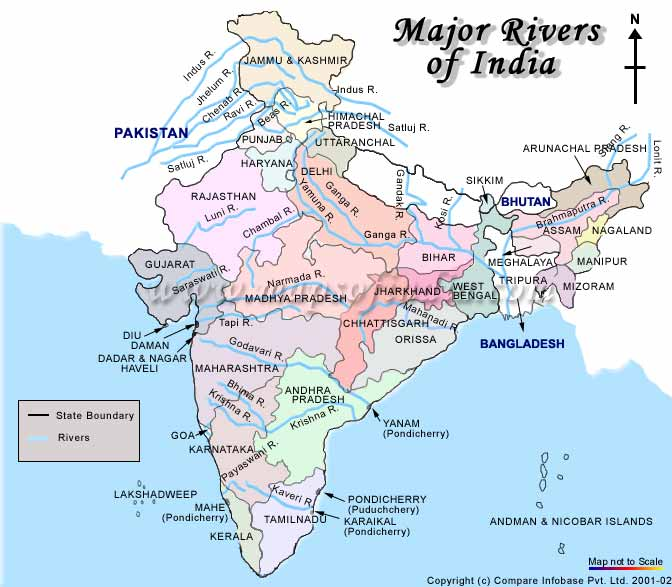 Touristplacesinindia.com provides informative rivers map of India and