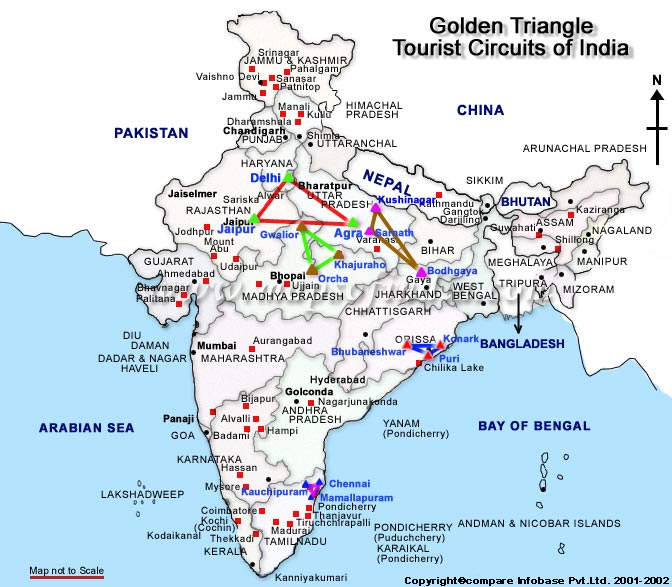 Ujjain India Map.Golden Triangle Travel Map Golden Triangle Circuit Map Golden