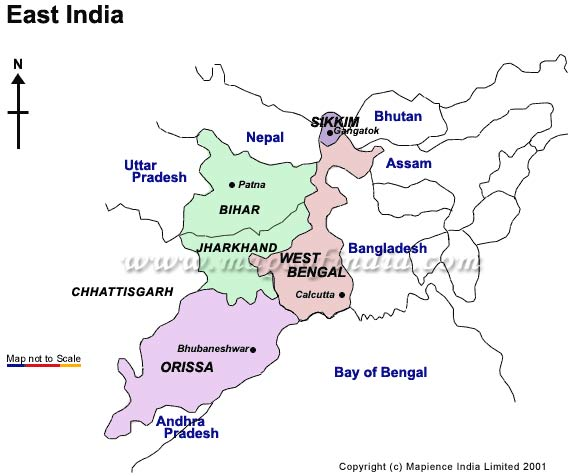 Tourist Map Of East India