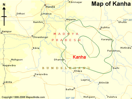 Tourist Map of Kanha, Kanha Tourist Map