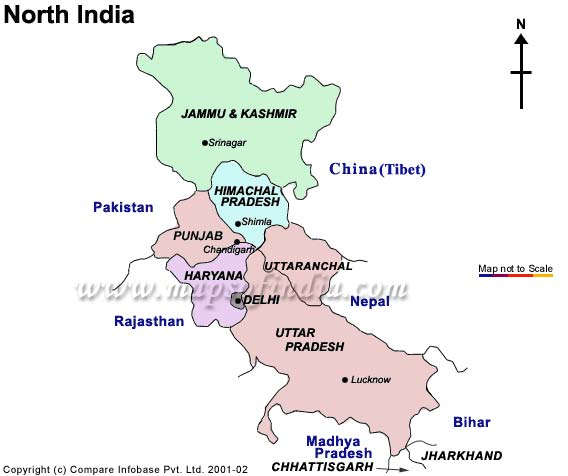 Tourist Map of North India, North India Tourist Map