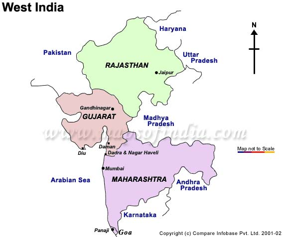 Tourist Map of West India