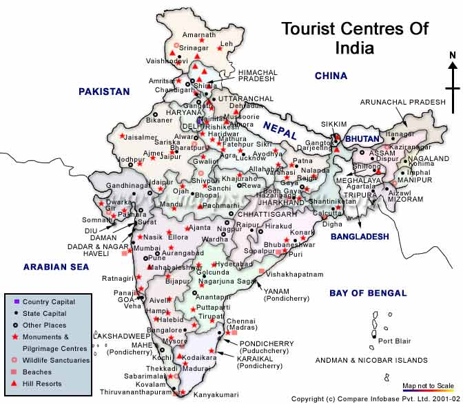 Indian Tourist Map Travel Map of India, Tourist Map of India, India Tourism Map